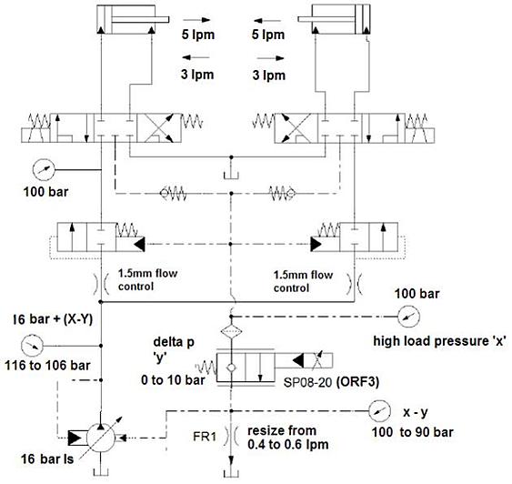 Four Way Flow Dividing Circuit